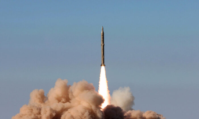 A missile launch at an undisclosed location in Iran on Nov. 12, 2008. (-/AFP via Getty Images)