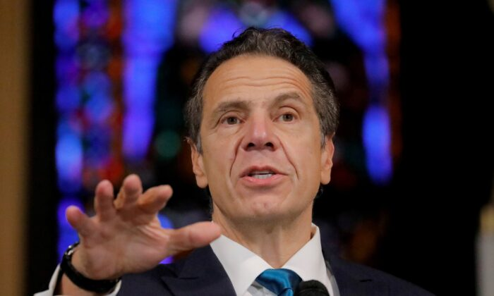 New York Governor Andrew Cuomo delivers remarks on the coronavirus disease at the Riverside Church in Manhattan, New York City, Nov. 15, 2020.  (Andrew Kelly/Reuters)