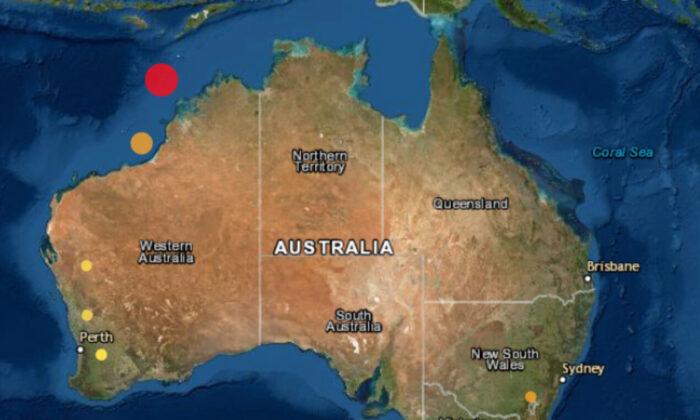 Map showing recent earthquakes near Australia in January 2021. (Geoscience Australia)