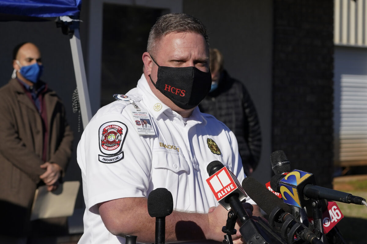 Hall County Fire Services Zach Brackett speaks at a news conference following a liquid nitrogen leak in Gainesville, Ga.