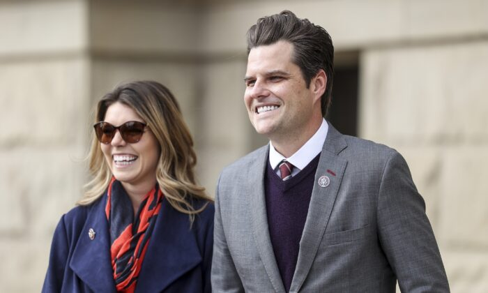 Rep. Matt Gaetz (R-Fla.) smiles with his fiancee Ginger Luckey before speaking to a rally against Rep. Liz Cheney (R-Wyo.) in Cheyenne, Wyo., on Jan. 28, 2021. (Michael Ciaglo/Getty Images)