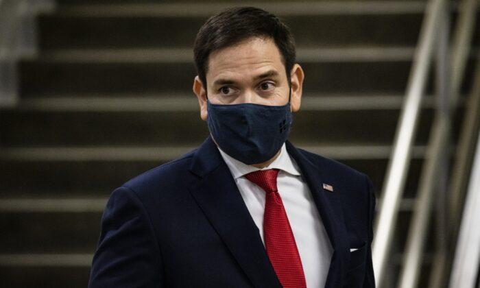 Sen. Marco Rubio (R-Fla.) walks in Washington on Nov. 12, 2020. (Samuel Corum/Getty Images)