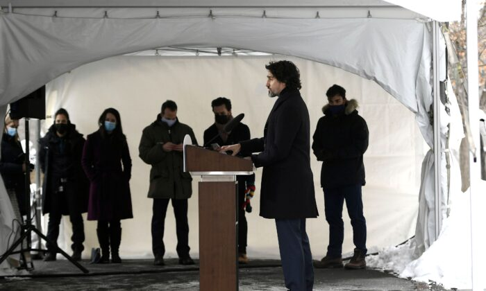 Prime Minister Justin Trudeau speaks during a news conference on the COVID-19 pandemic outside his residence at Rideau Cottage in Ottawa Jan. 26, 2021. (The Canadian Press/Justin Tang)