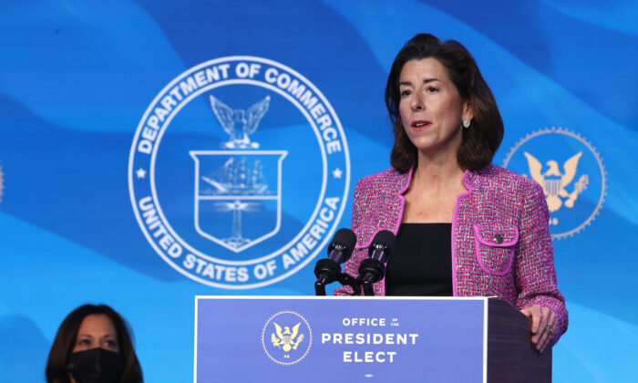Rhode Island Gov. Gina Raimondo delivers remarks after then-President-elect Joe Biden announced her as his Commerce Secretary nominee, in Wilmington, Del., on Jan. 8, 2021. (Chip Somodevilla/Getty Images)