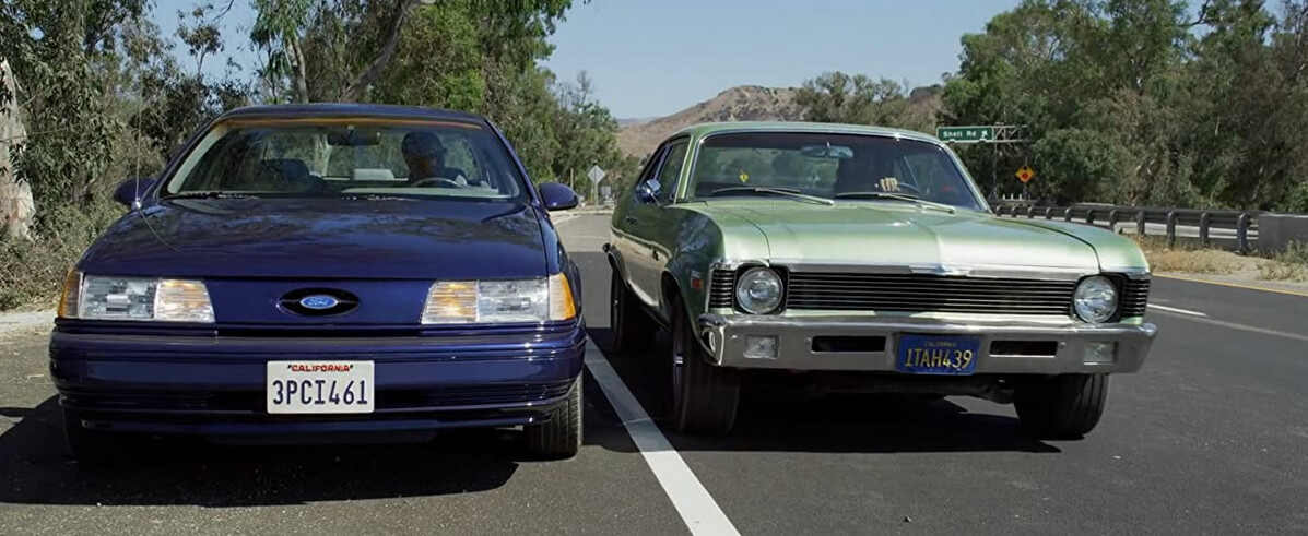 """blue car and green car in """"The Little Things"""""""