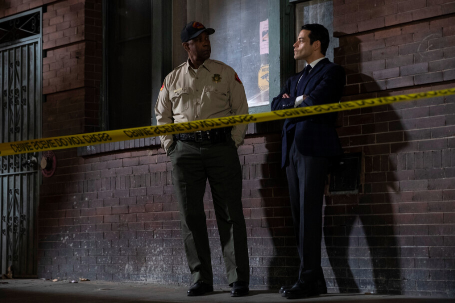"""two men and police tape in """"The Little Things"""""""