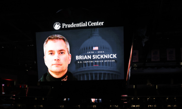 The NHL's New Jersey Devils honor the late Capitol Police officer and New Jersey native Brian Sicknick at Prudential Center in Newark, N.J., on Jan. 14, 2021. (Elsa/Getty Images)