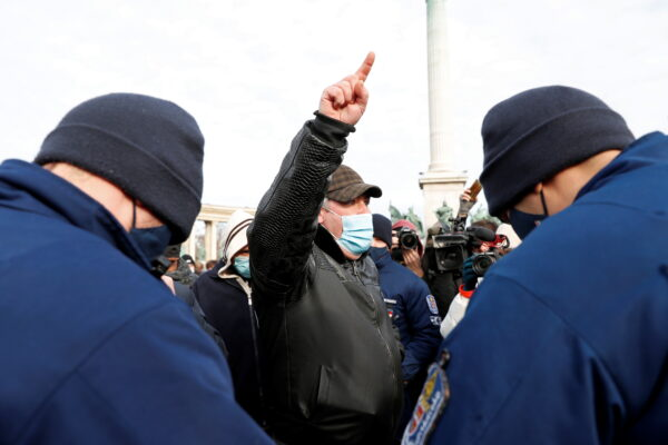 A man gestures during a demonstration
