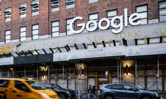 Google's offices in lower Manhattan in New York on Jan. 20, 2021. (Chung I Ho/The Epoch Times)