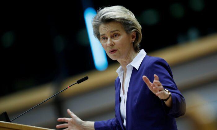 European Commission President Ursula Von Der Leyen, on a plenary session at the European Parliament in Brussels, Belgium, Jan. 20, 2021. (Francisco Seco/Pool via Reuters)