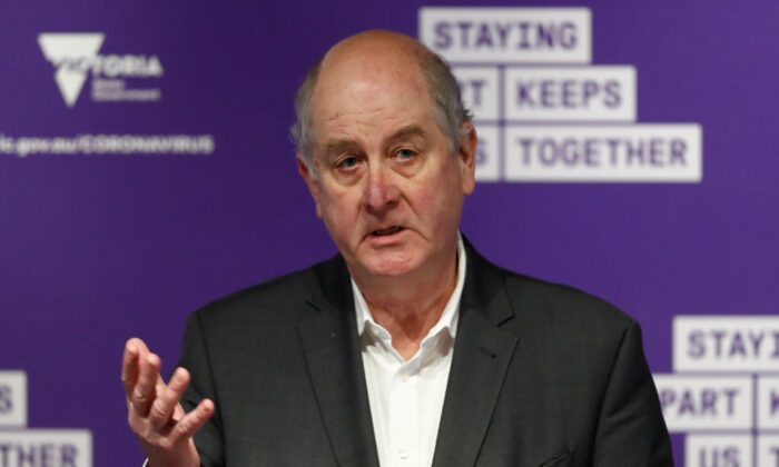 Victorian Minister for Housing Richard Wynne speaks to the media at the daily briefing on July 06, 2020 in Melbourne, Australia.  (Darrian Traynor/Getty Images)