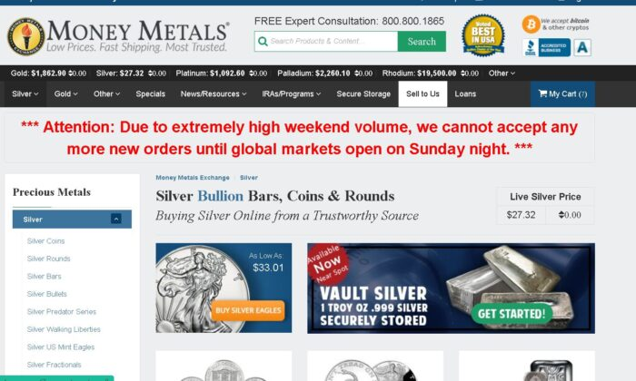 A screenshot taken of the Moneymetals.com website on Jan. 31, 2021. (Screenshot/The Epoch Times)