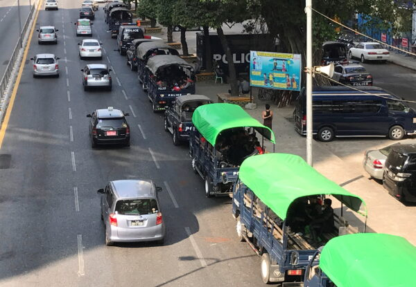 Myanmar police vehicles