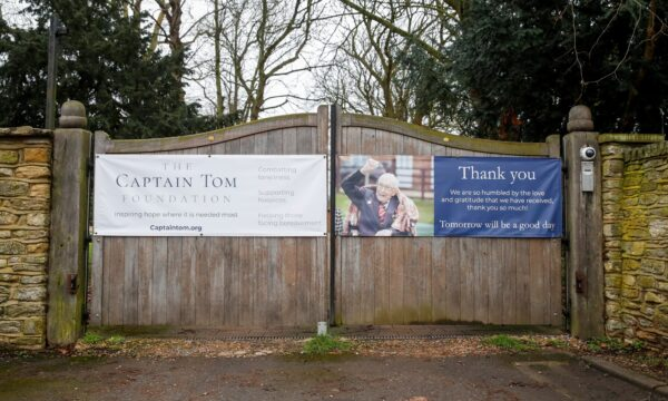 A poster supporting The Captian Tom Moore Foundation