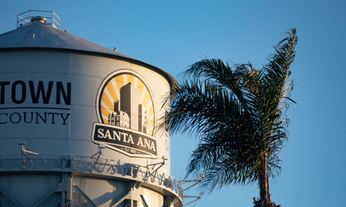 A file photo of the water tower in downtown Santa Ana, Calif., on Nov. 13, 2020. (John Fredricks/The Epoch Times)