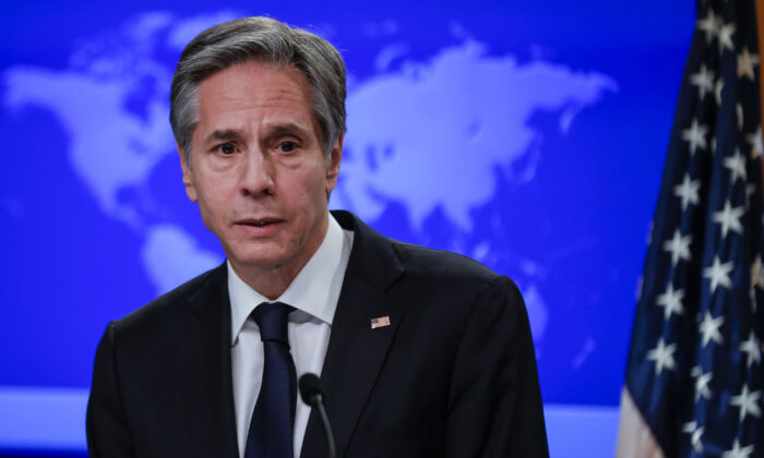 US Secretary of State Antony Blinken addresses reporters during his first press briefing at the State Department in Washington, DC, on Jan. 27, 2021. (BARRIA/POOL/AFP via Getty Images)