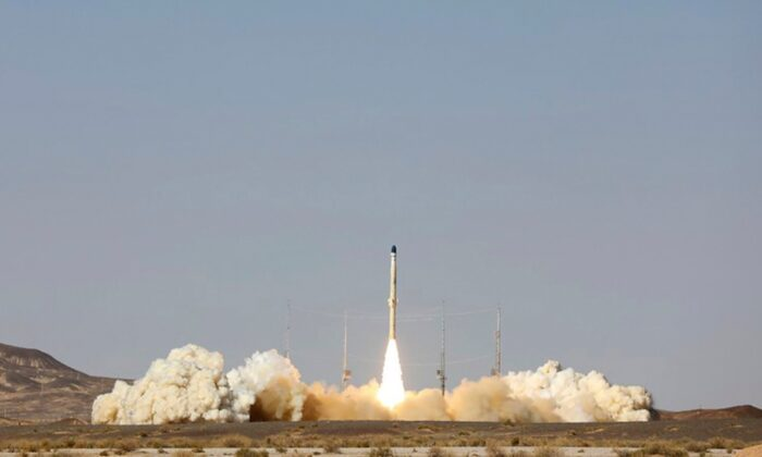 The launch of Iran's newest satellite-carrier rocket is shown at an undisclosed location in Iran, on Feb. 1, 2021. (Iranian Defense Ministry via AP)
