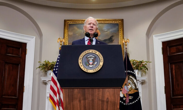 U.S. President Joe Biden speaks after the House of Representatives passed his $1.9 trillion coronavirus relief package in the Roosevelt Room of the White House in Washington, U.S. on Feb. 27, 2021. (Joshua Roberts/REUTERS)