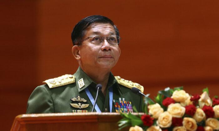 Burma's Army Commander-in-Chief Senior Gen. Min Aung Hlaing speaks in Naypyitaw, Burma, on July 11, 2018. (Aung Shine Oo/File/AP Photo)