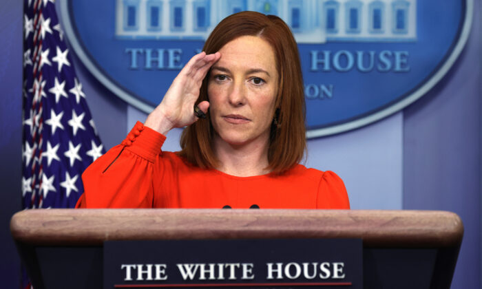 White House press secretary Jen Psaki speaks during a press briefing at the James Brady Press Briefing Room of the White House in Washington on Jan. 21, 2021. (Alex Wong/Getty Images)