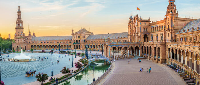 Seville's grand Plaza de España was built as part of the Ibero-American Exposition of 1929, to express Spain's cultural and socioeconomic wealth. (LucVi/Shutterstock.com)