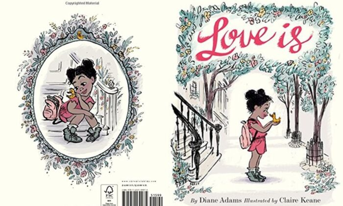 "The front and back images on the cover of Diane Adams's book ""Love Is."""