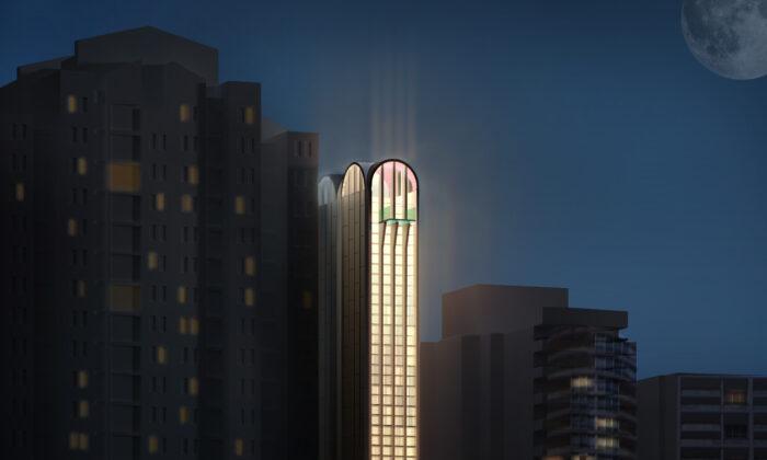Night view of new pencil skyscraper in Sydney. (Supplied)
