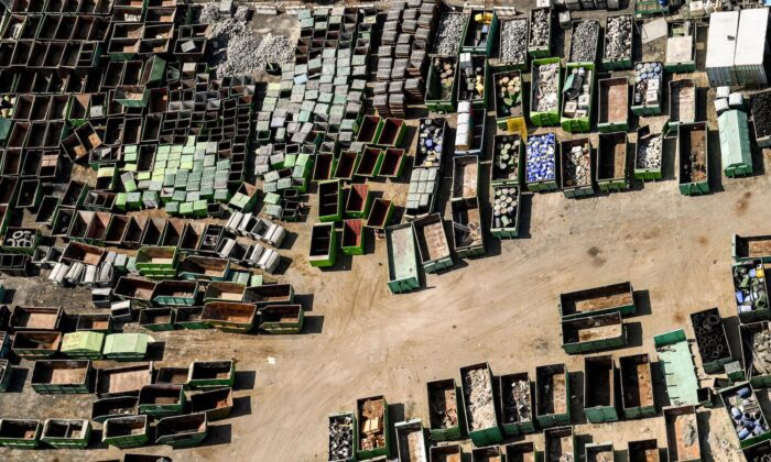 An aerial view of aluminium production materials containers stored at al-Quoz Industrial Area, in Dubai, United Arab Emirates, on July 8, 2020. (Karim Sahib/AFP/Getty Images)