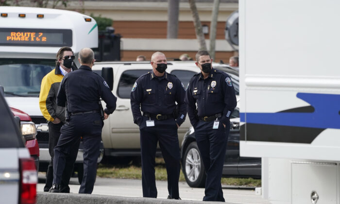 Law enforcement officers block an area where a shooting wounded several FBI while serving an arrest warrant in Sunrise, Fla., on Feb. 2, 2021. (Marta Lavandier/AP Photo)