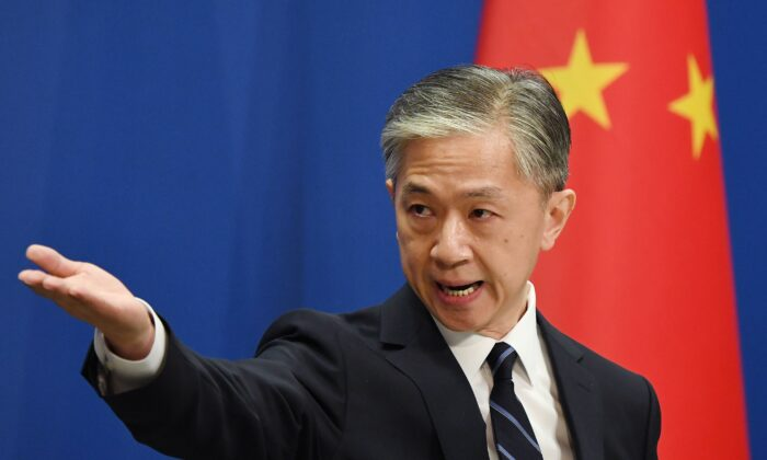 Chinese Foreign Ministry spokesman Wang Wenbin takes a question during the daily Foreign Ministry briefing in Beijing, China, on July 24, 2020. (Greg Baker/AFP via Getty Images)