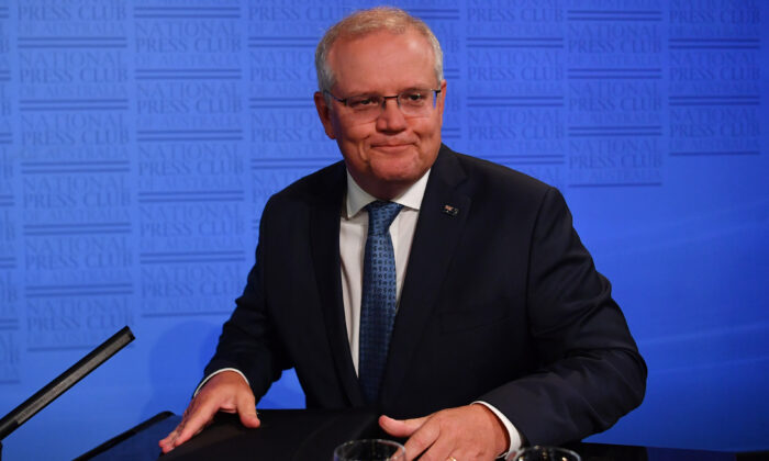 Prime Minister Scott Morrison at the National Press Club in Canberra, Australia on Feb. 1, 2021. (Sam Mooy/Getty Images)
