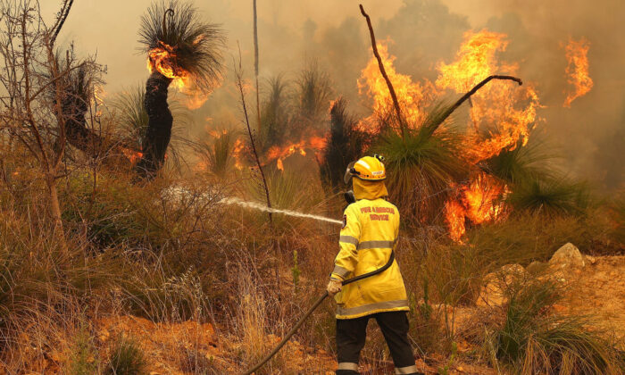 Fire crews control bush fires as they approach properties on Copley Road in Upper Swan on February 02, 2021 in Perth, Australia. (Paul Kane/Getty Images)