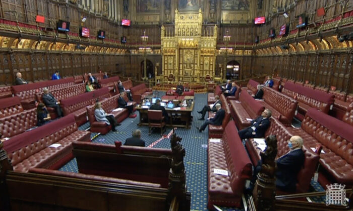Lords debate the genocide amendments to Trade Bill 2019-21 in the House of Lords chamber in Westminster, London, on Feb. 2, 2021. (Parliamentlive.tv/Screenshot)