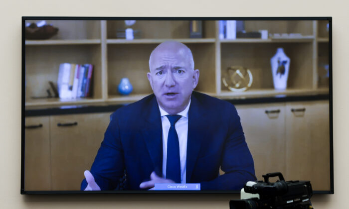 Amazon CEO Jeff Bezos testifies via video conference during the House Judiciary Subcommittee on Antitrust, Commercial and Administrative Law hearing on Online Platforms and Market Power in the Rayburn House office Building on Capitol Hill in Washington, on July 29, 2020. (Graeme Jennings-Pool/Getty Images)