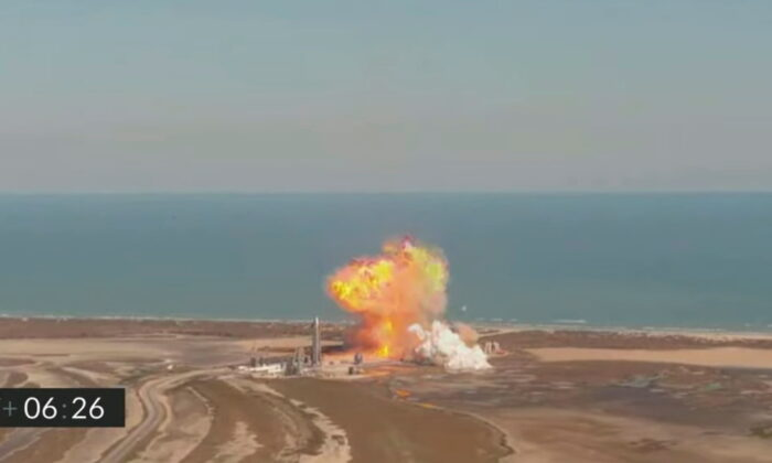The SpaceX Starship SN9 prototype rocket explodes after descending from a test flight in a still image from video in Boca Chica, Texas, on Feb. 2, 2021.  (SpaceX/Social Media via Reuters)