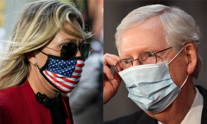 Rep. Majorie Taylor Greene (R-Ga.) (L) and Senate Minority Leader Mitch McConnell (R-Ky.) in file photographs. (Getty Images)