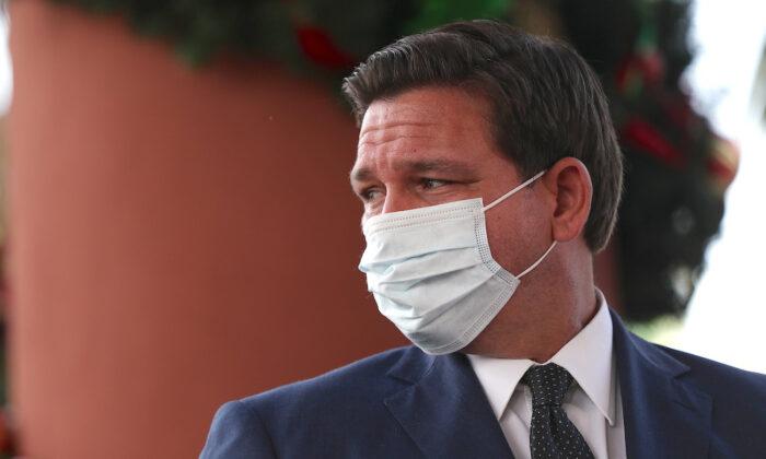 Florida Gov. Ron DeSantis attends a press conference in Pompano Beach, Fla., on Dec. 16, 2020. (Joe Raedle/Getty Images)