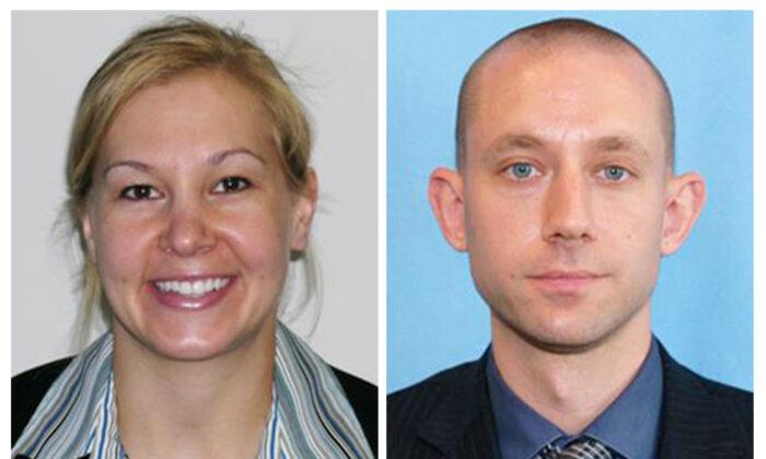 Laura Schwartzenberger (L) and FBI agent Daniel Alfin (R) in an undated photo. (FBi via AP)