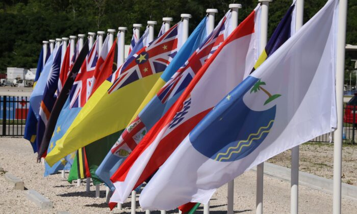 This picture taken shows flags from the Pacific Islands countries being displayed in Yaren on the last day of the Pacific Islands Forum (PIF) on Sept. 5, 2018. (Mike Leyral/AFP via Getty Images)