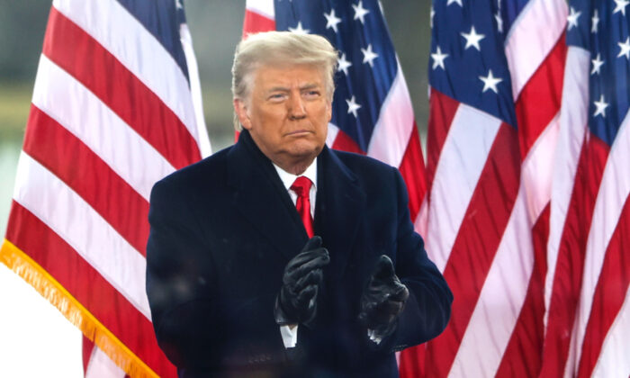 """President Donald Trump greets the crowd at the """"Stop The Steal"""" rally in Washington on Jan. 6, 2021. (Tasos Katopodis/Getty Images)"""