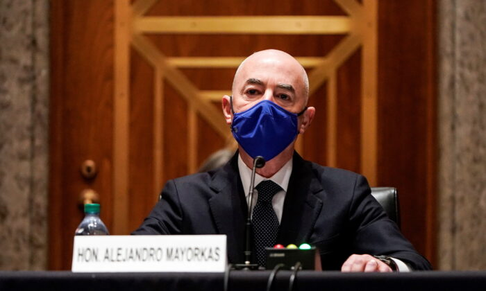 Homeland Security Secretary Alejandro Mayorkas testifies during a Senate Homeland Security and Governmental Affairs confirmation hearing on Capitol Hill in Washington on Jan. 19, 2021. (Joshua Roberts/Pool/Reuters)