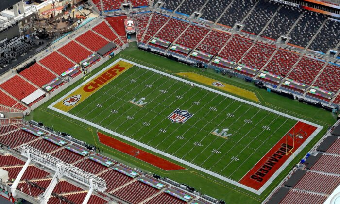 An aerial view of Raymond James Stadium ahead of Super Bowl LV, in Tampa, Fla., on Jan. 31, 2021. (Mike Ehrmann/Getty Images)