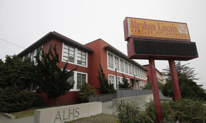 Abraham Lincoln High School in San Francisco, Calif., is seen on March 12, 2020. (Jeff Chiu/AP Photo)