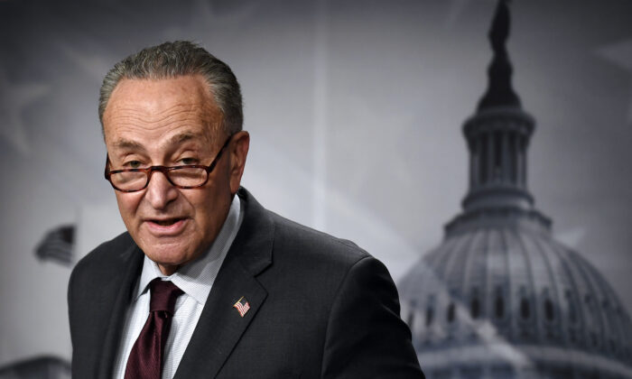 Senate Majority Leader Chuck Schumer (D-N.Y.) speaks to reporters in Washington on Feb. 2, 2021. (Olivier Douliery/AFP via Getty Images)