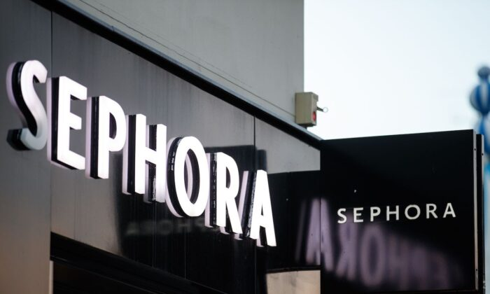 The Sephora logo on the front facade of a shop in the city of Caen, northwestern of France. (Sameer Al-Doumy/AFP via Getty Images)