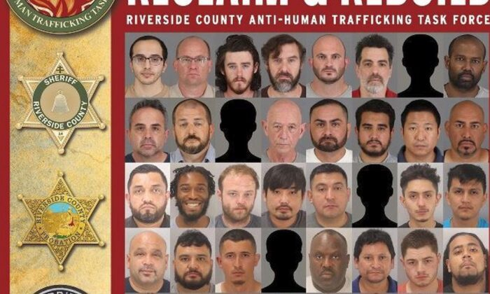 Sixty-four arrests were made, officials in Riverside County announced Feb. 2. (Riverside County Sheriff's Dept.)