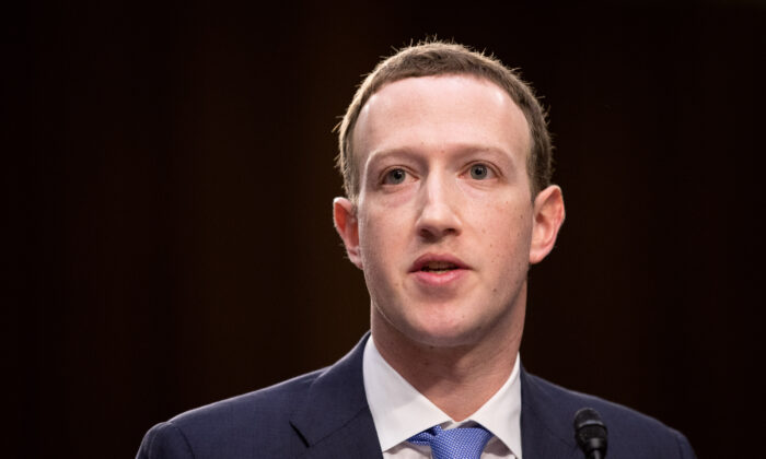 Facebook founder and CEO Mark Zuckerberg in Washington on April 10, 2018. (Samira Bouaou/The Epoch Times)