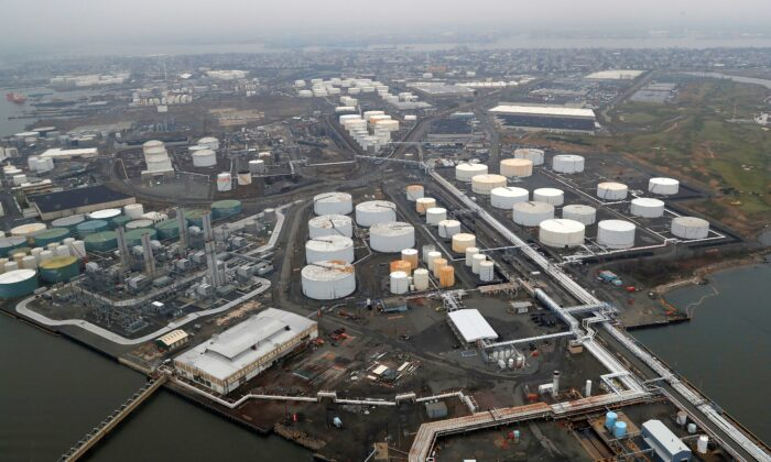 General view of oil tanks and the Bayway Refinery of Phillips 66 in Linden, N.J., on March 30, 2020. (Mike Segar/Reuters)