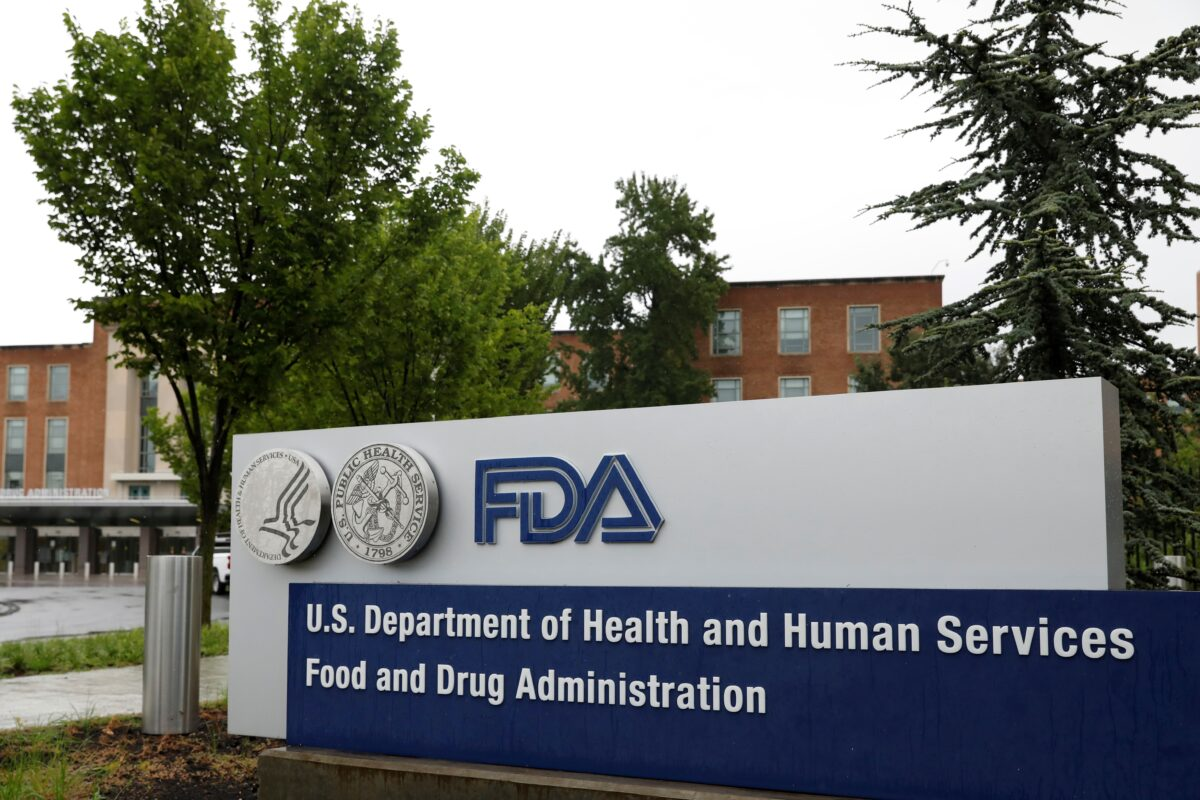Signage is seen outside of FDA headquarters in White Oak, Maryland