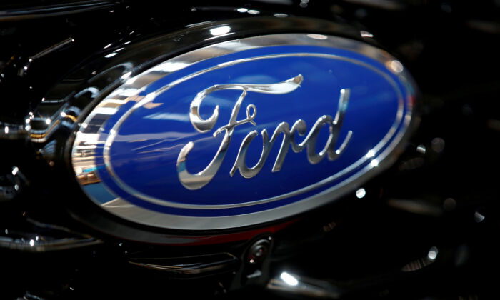 The Ford logo is pictured at the 2019 Frankfurt Motor Show (IAA) in Frankfurt, Germany, on Sept. 10, 2019. (Wolfgang Rattay/Reuters)